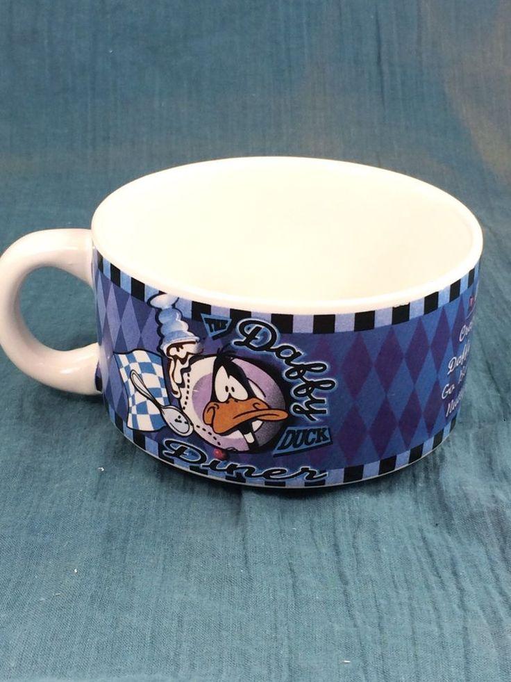 The Daffy Duck Diner Warner Bros. Novelty Blue Soup Cup Mug