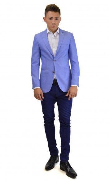 Casual sky blue slim jacket!