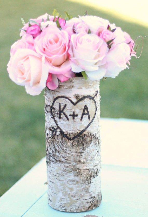 Personalized tall straight birch bark wood vase eco