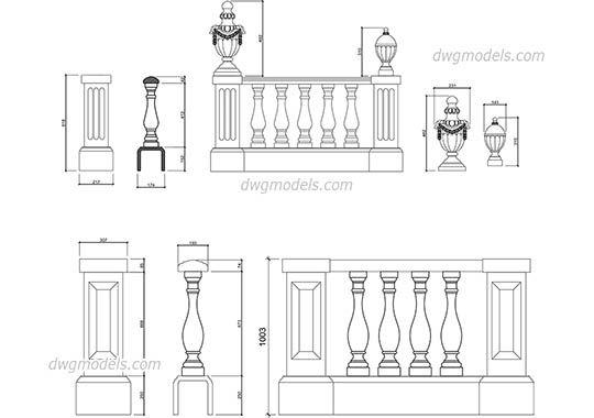 Balustrade elevation dwg, cad file download free   stencils