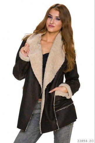 Kοντό παλτό με γούνινη επένδυση - Σκούρο Καφέ