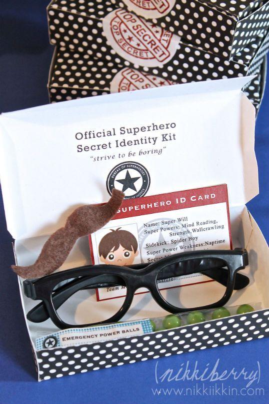 This is an awesome idea...Superhero Secret identity Kits. (The Party Wagon - Blog - SUPERHERO BIRTHDAY)