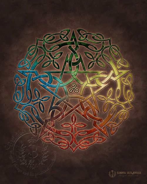 Elemental Celtic Pentacle  represents the elements Earth, Air, Fire and Water with Spirit in the center.