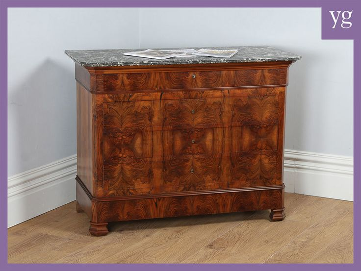 Antique French Empire Figured Walnut & Marble Top Bedroom Chest of Drawers c1860 #FrenchEmpire #AntiqueFrenchWalnutMarbleChestofDrawers