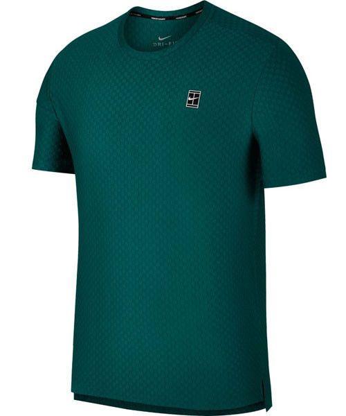033b3bdfe551 Nike Court Checkered Dri-FIT Mens Tennis Shirt L Rainforest Green 855279  303  Nike  ActivewearShortSleeve