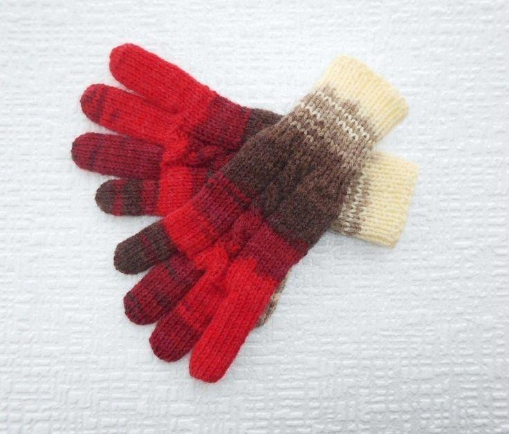 Prstové+dámské+rukavice+ručně+pletené+rukavice+z+melírované+příze+teplé+a+zaručeně+nekousavé+pružné,+příjemný+materiál+melír+odstíny+červené+++odstíny+hnědé+++smetanová
