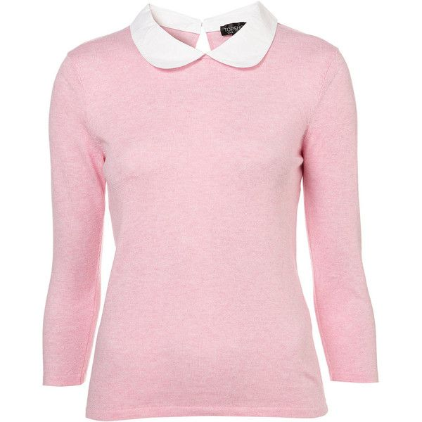 Knitted Contrast Peter Pan Collar Top ($40) ❤ liked on Polyvore featuring tops, sweaters, shirts, pink, women, cotton shirts, pink peter pan collar shirt, peter pan collar shirt, woven shirt and shirts & tops