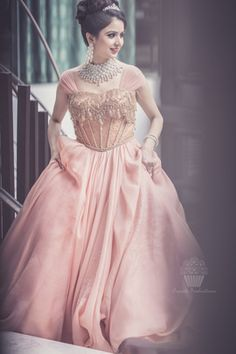 Christian Wedding Gowns - Peach Wedding Gown with Gold Jaal Work, Diamond Necklace and Earrings | WedMeGood #wedmegood #diamond #christian #gown