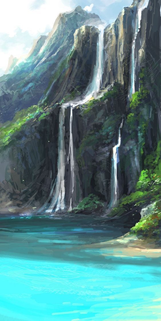 Image result for waterfall line drawing art