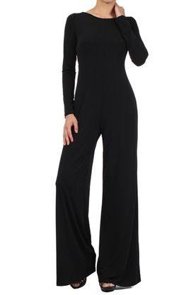Black Jersey Chic Long Sleeve Jumpsuit/Pantsuit