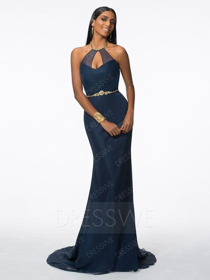 Buy Concise Beading Halter Neck Sleeveless Belt Mermaid Floor Length Evening Dress  Online, Dresswe.Com offer high quality fashion,Price: USD$120.09