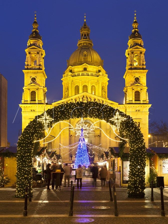 Christmas Market Outside St. Stephen's Basilica Szent Istvan Bazilika Budapest Hungary