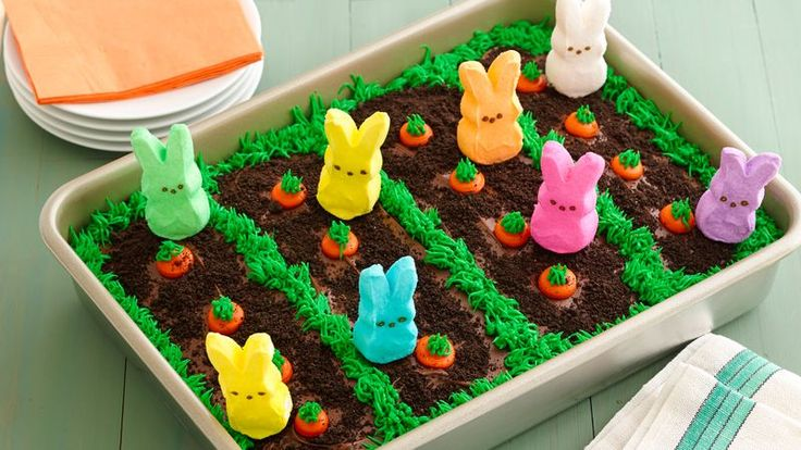 This festive bunny garden cake is quick and easy to make, thanks to the help of these adorable PEEPS® marshmallow bunnies.
