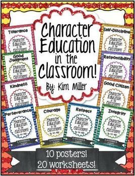 These character education posters are the perfect addition to any classroom! Colorful and useful, these posters are an excellent way to visually reinforce character education throughout the year.   Each poster comes with 2 students worksheets to help reinforces the character trait.   You get 10 character trait posters and 20 worksheets for students. www.teacherspayte...