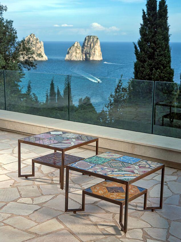 Tiles tables at Villa S, Capri, architecture and design by Francesco Della Femina.