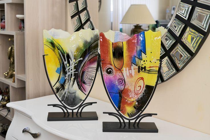 Декоративные вазы из венецианского стекла авторской ручной работы.