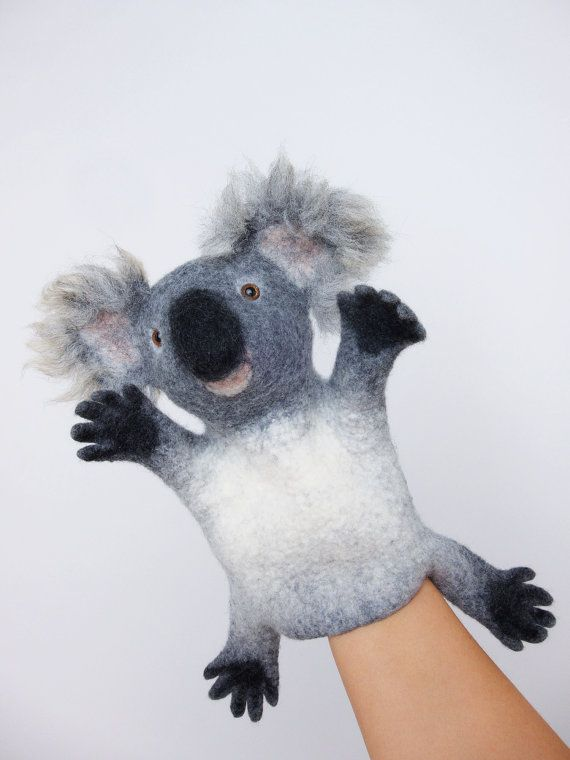 the koala hand puppet wet felted. MADE TO ORDER by bibabo on Etsy