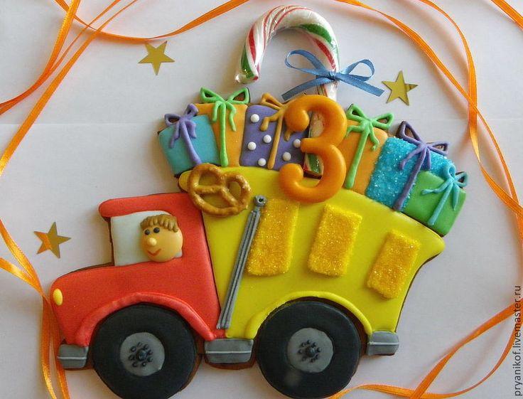 """Купить """"Грузовик с подарками"""" Имбирный пряник подарок на день рождения. - подарок мальчику, грузовик, самосвал"""