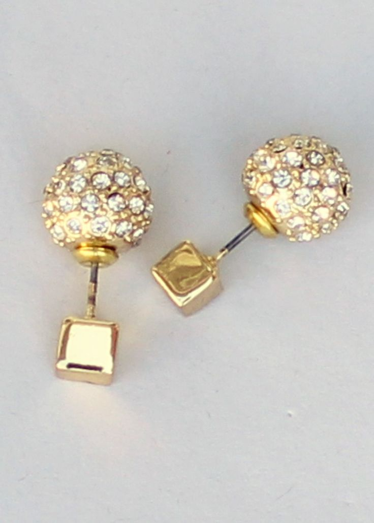 Double Dice Earrings, double sided earrings, pave earrings, crystal earrings #doublesidedearrings