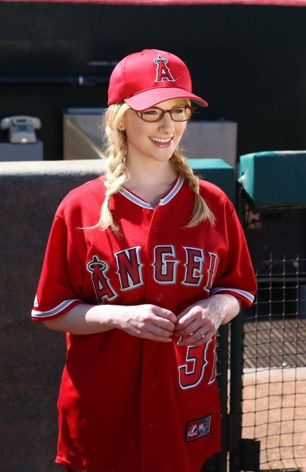 Melissa Rauch as Bernadette Rostenkowski  ~~~All decked out in Angels gear her role partner Wolowitz is nervous after NASA asks him to throw out the first pitch at a Los Angeles Angels game, on THE BIG BANG THEORY