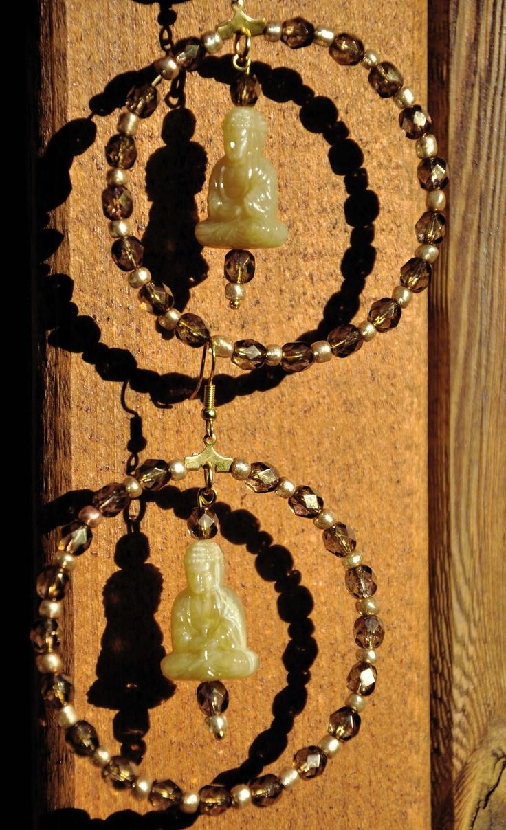 Beige gold big Buddha earrings