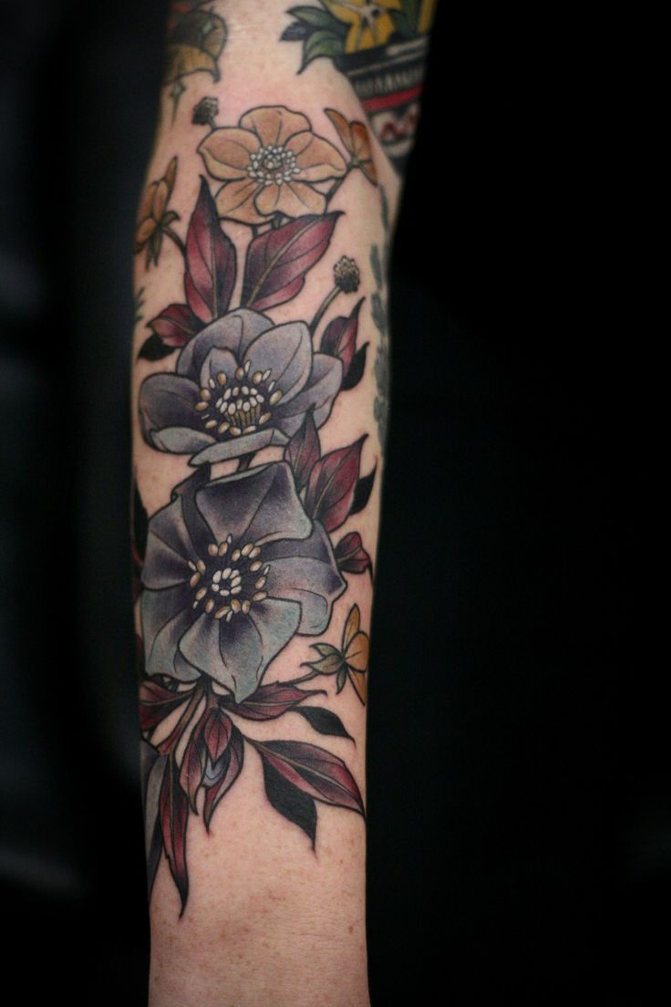 Evil tattoo kalisz piercing - Kirsten Makes Tattoos Black Hellebore And Buttercups For One Of My