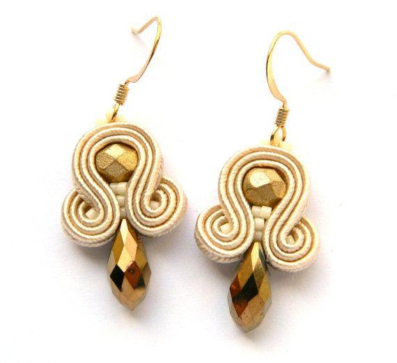 Gold dangle earrings, drop earrings, soutache earrings, embroidered earrings, boho earrings, small earrings, casual earrings, gift for her