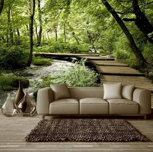 Best Green Forest Theme With Wooden Pathway Wallpaper For Home 400 x 300