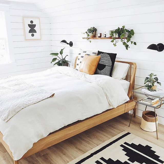 Bedroom Inspiration With White Shiplap Patterned Rug Wooden Bed