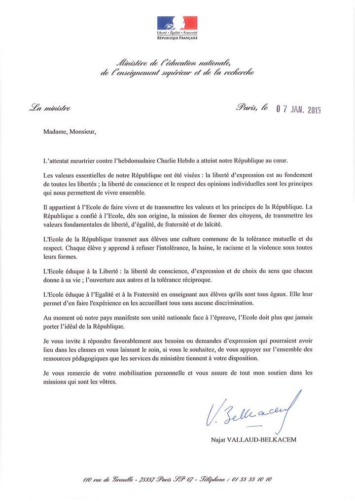 Lettre La Suite De Lattentat Contre Lhebdomadaire Charlie Hebdo