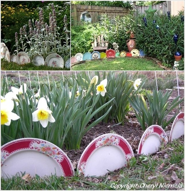 Garden Beds Edged with Old China Plates