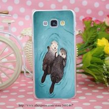 Романтический выдры , держась за руки милый выдры прозрачный футляр чехол для Smasung Galaxy S5 A3 A5 A7 A8 примечание 2 3 4 5(China (Mainland))