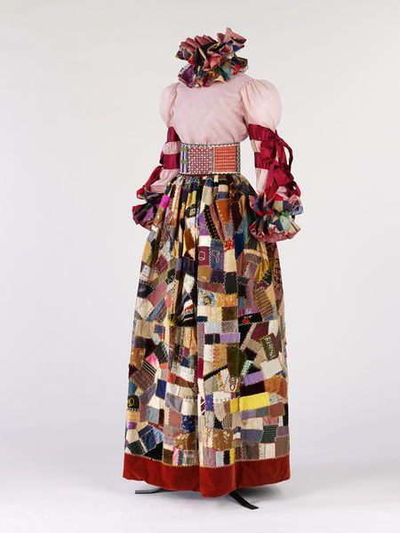 Quilted #patchwork evening ensemble by Adolfo, United States, 1967 l Victoria and Albert Museum #fashion