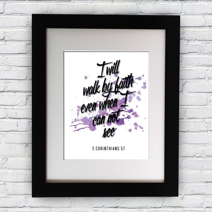 Bible Quotes Inspirational Poster 2 Corinthians 5:7 Motivational Typography Print Home Decor