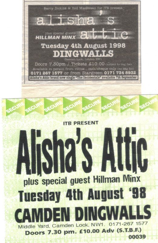 Alisha's Attic @ Dingwalls, Camden, London, 4th August 1998