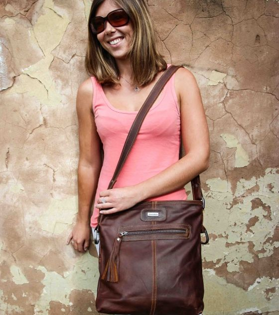 Gorgeous, practical Thandana Messenger Handbag made from genuine bovine leather in tobacco (dark brown) color with contrast stitching. Shop @ www.wave2africa.com