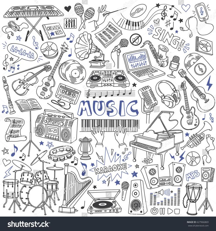 Music doodles set. Musical instruments, devices and symbols. Freehand vector drawing isolated on white background