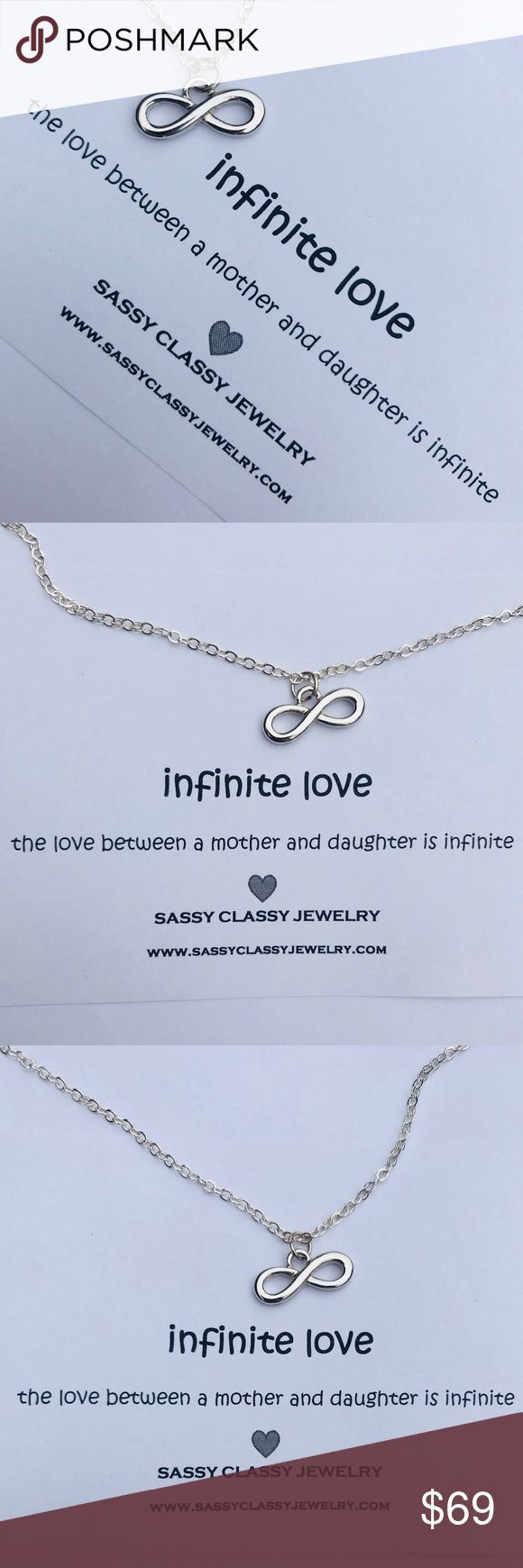 "Infinity Necklace Gift for Mother's Day Jewelry Perfect Mother's Day Gift, Birthday Gift for Mom, or Thank You Present! *PRICE FIRM.  MAKE THIS*  Tell Mom how much you love her & how grateful you are for her infinite love  Give the gift of jewelry with ""infinite love"" message card & silver infinity charm minimalist necklace   ❤️ Silver Infinity Charm Minimalist Necklace 17-18"" necklace chain. Can be made shorter Need multiples, a different message card or charm? No problem! Look at last 5…"