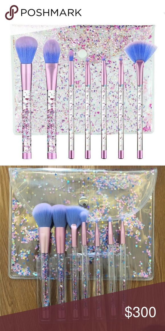 Coming soon!!! Price: $30. Glittered makeup brush set with bag. Made of plastic, synthetic hair, aluminum tube and wood fibers. Smoke free and cat friendly home Makeup Brushes & Tools