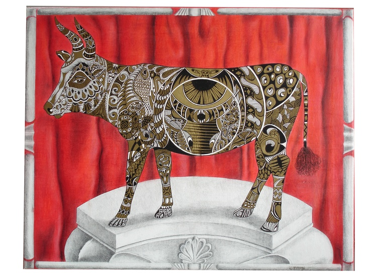 Golden Calf  Mixed media on canvas.  http://valburgh.blogspot.com/2012_02_01_archive.html