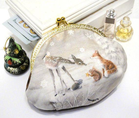 Women's purse wallet Happy new year Deer от LeatherBagsBackpacks