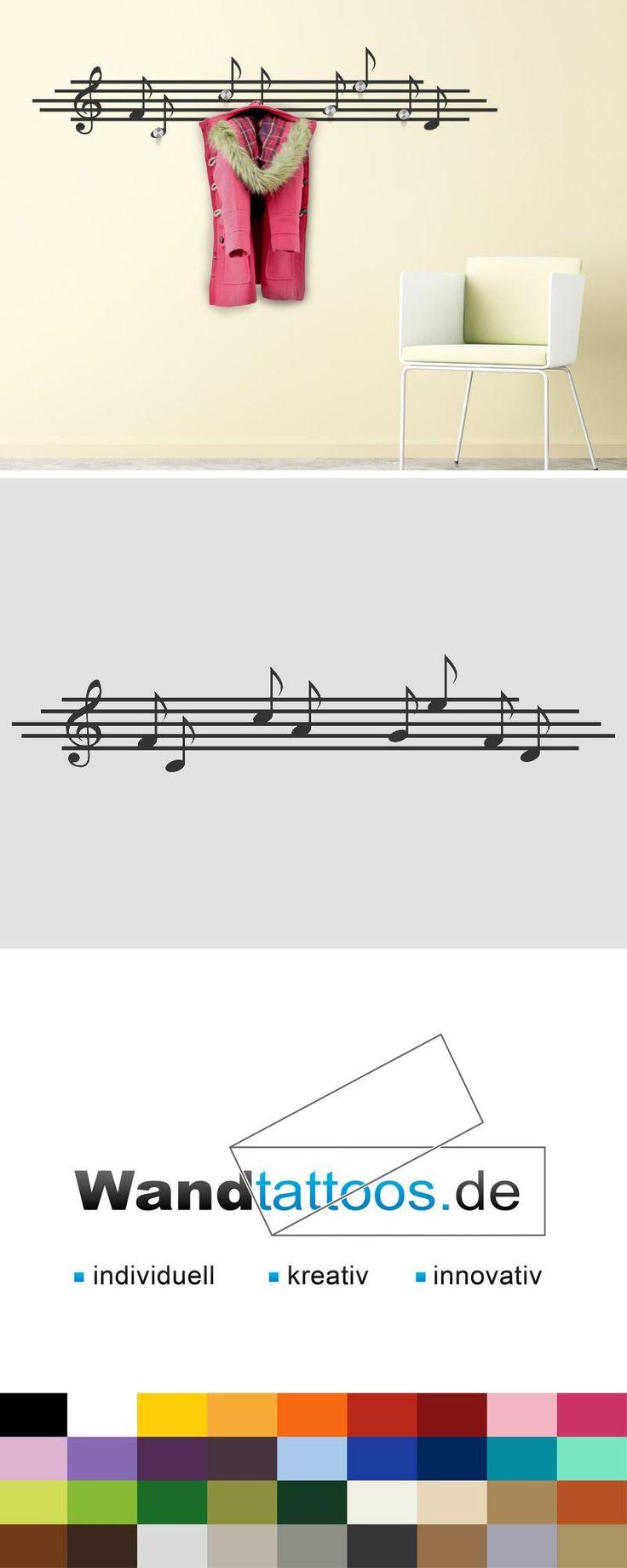 Wandtattoo Garderobe Musik Noten als Idee zur individuellen Wandgestaltung. Einfach Lieblingsfarbe und Größe auswählen. Weitere kreative Anregungen von Wandtattoos.de hier entdecken!