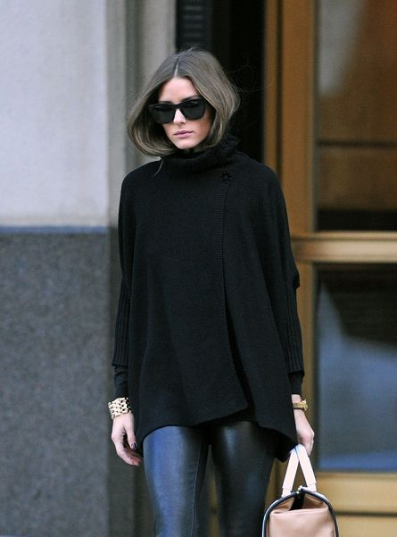 olivia palermo leather pants and black poncho