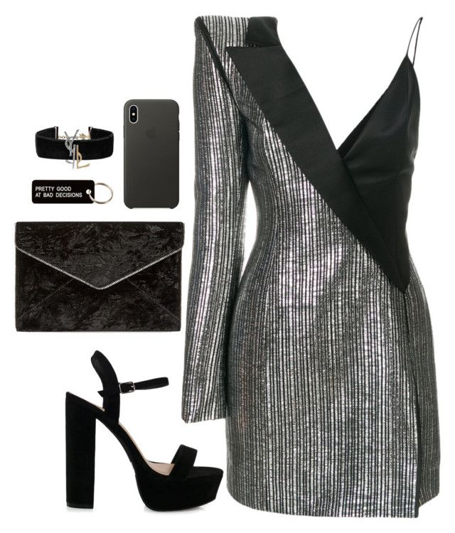 """Untitled #4472"" by magsmccray on Polyvore featuring Thierry Mugler, Rebecca Minkoff, Apple, Various Projects and Yves Saint Laurent"