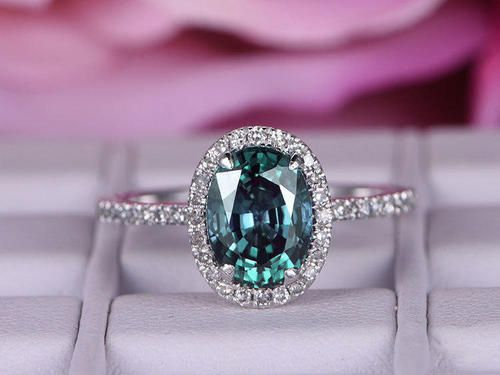 6x8mm Alexandrite Engagement Ring With Diamond In 14k White Gold/Halo  Stacking Ring/Promise