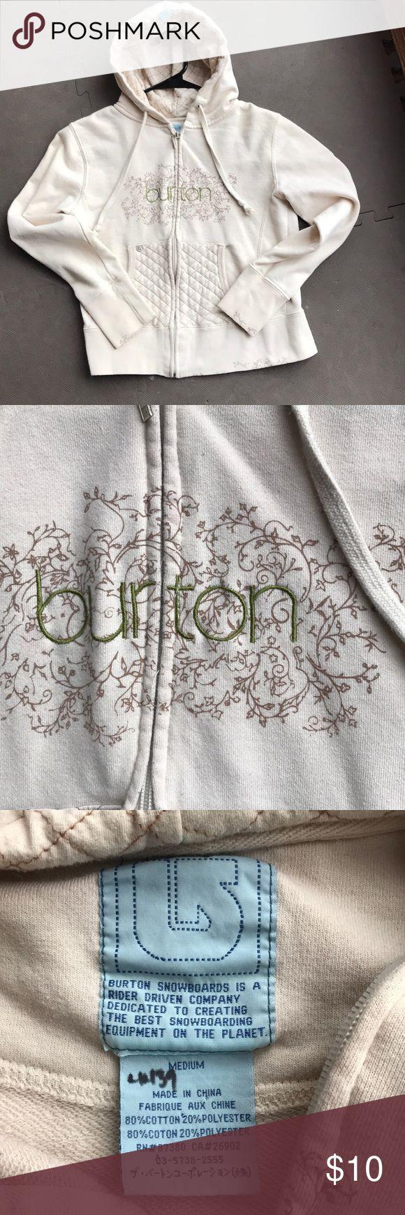 Burton hoodie Women's medium cream colored Burton hoodie in great condition. Inked numbers on tag from previous sale. See photos. Burton Tops Sweatshirts & Hoodies