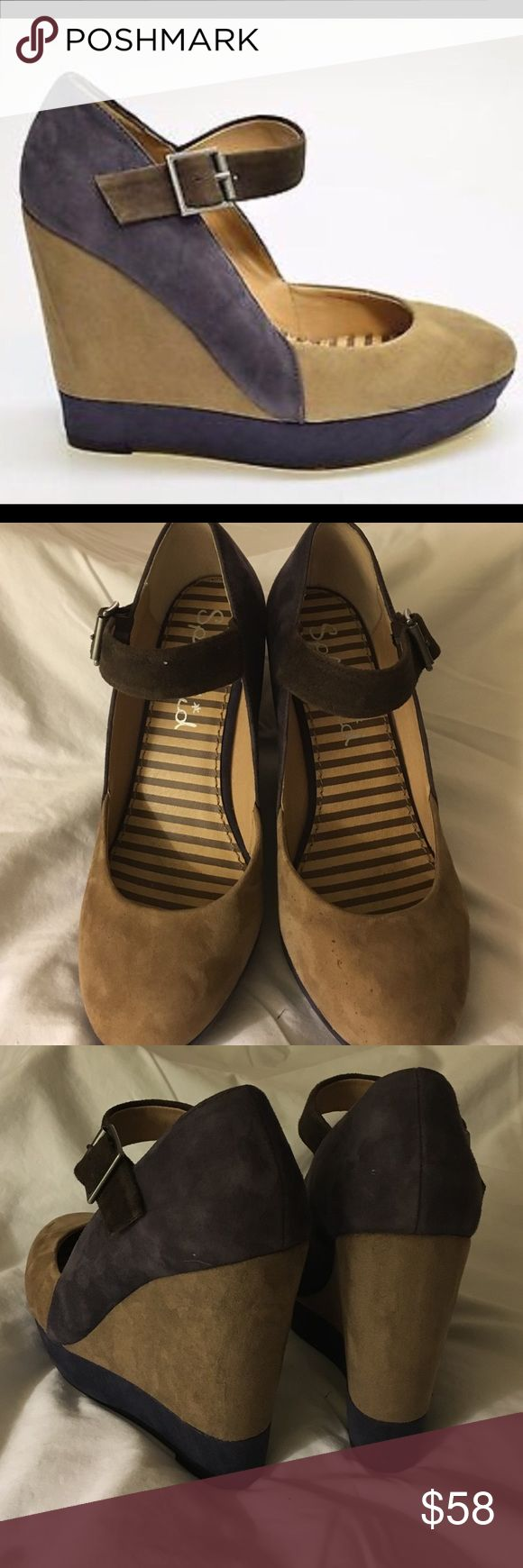 """Splendid Suede Wedges Gorgeous 3 color 4 1/2"""" heeled wedges. Color is tan and plum with chocolate brown strap. In EUC only flaw is tiny speckle on left front toe, see image. Splendid Shoes Wedges"""