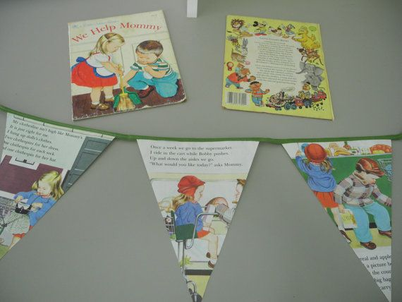 Vintage 1959 Little Golden Book Repurposed Recycled Toddlers Paper Garland Bunting Banner Flags We Help Mommy Ephemera on Etsy, $15.00