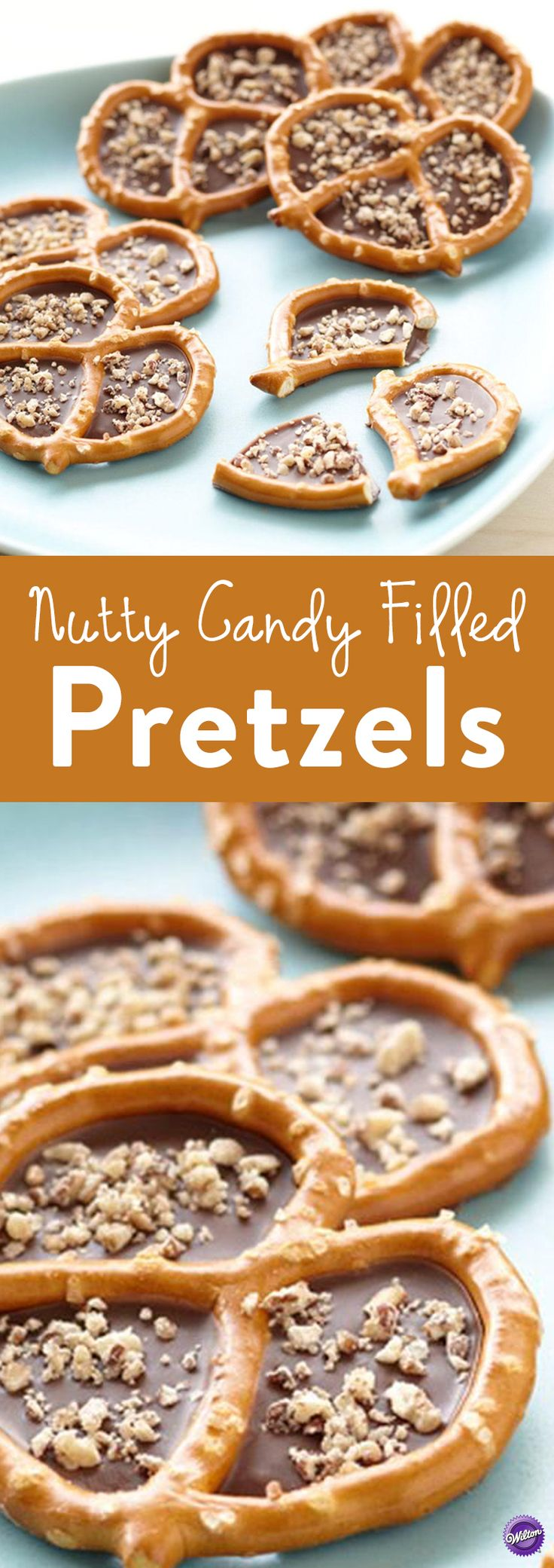 How to Make Nutty Candy Filled Pretzels - Regular pretzels will never be the same once you fill them with Wilton Candy Melts candy and add a sprinkle of chopped nuts. This combination of sweet and salty is fun to make and serve any time of the year and your guests will devour them!