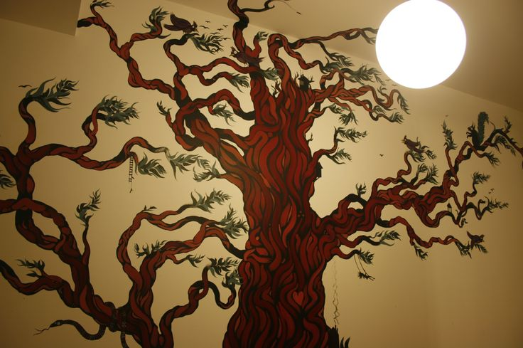 Red Tree - with birds, squirrels, snakes and tiny people.